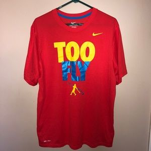 Nike Dri-Fit Red Too Fly Baseball Graphic Tee Lg